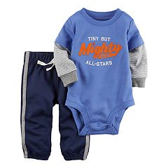 Baby Boy Carter's 'Tiny But Mighty' Mock Layer Bodysuit & French Terry Pants Set