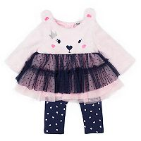 Baby Girl Little Lass Bear Skirted Plush Top & Leggings Set