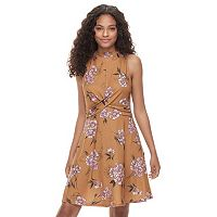 Juniors' Rewind Twist Front Mock Neck Dress