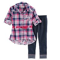 Baby Girl Nannette Plaid Shirt & Jeggings Set