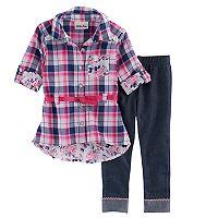 Baby Girl Nannette Plaid Shirt & Jeggings Set