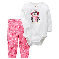Baby Girl Carter's Penguin Bodysuit & Snowflake Leggings Set