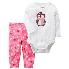 Baby Girl Carter's Penguin Bodysuit & Snowflake Leggings Set