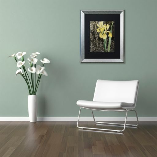 Trademark Fine Art Ode To Yellow Flowers Silver Finish Framed Wall Art
