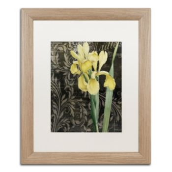 Trademark Fine Art Ode to Yellow Flowers Distressed Framed Wall Art