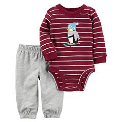 Baby Boy Carter's Striped Penguin Applique Bodysuit & Pants Set