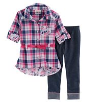 Toddler Girl Little Lass Plaid Shirt & Jeggings Set