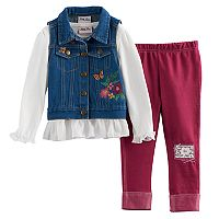 Toddler Girl Little Lass Denim Vest, Tee & Leggings Set