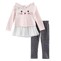 Toddler Girl Little Lass Kitty Cat Tulle Skirted Top & Cheetah Leggings Set