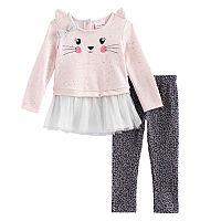 Toddler Girl Little Lass Kitty Cat Tulle Skirted Top & Cheetah Leggings Set