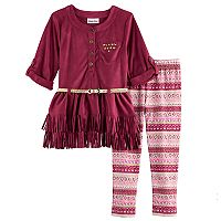 Girls 4-6x Little Lass Faux Suede Top & Leggings Set