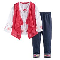 Girls 4-6x Little Lass Lace Vest, Top & Jeggings Set