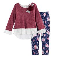 Girls 4-6x Little Lass French Terry Top & Leggings Set