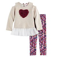 Girls 4-6x Little Lass Chiffon Cold Shoulder Top & Leggings Set