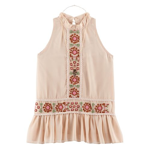 Girls 7-16 Knitworks Embroidered Chiffon Peplum Top with Necklace