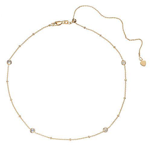 14k Gold Cubic Zirconia Station Choker Necklace