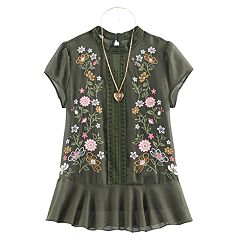 Girls 7-16 Knitworks Floral Embroidered Chiffon Top with Necklace