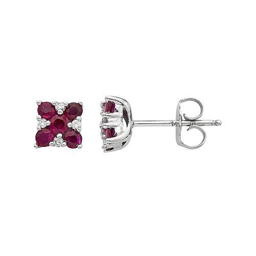 Boston Bay Diamonds 14k White Gold Ruby & Diamond Square Stud Earrings