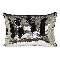 Brentwood Mermaid Sequin Silver Tone Oblong Throw Pillow