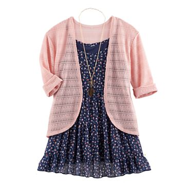 Girls 7-16 Knitworks Dress, Shrug & Necklace Set