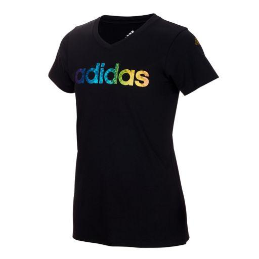 Girls 7-16 adidas climalite Rainbow-Foil Print Logo Graphic Tee