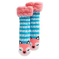 Girls 4-16 Sherpa-Lined Animal Cozy Warmer Slipper Socks