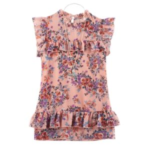 Girls 7-16 Knitworks Floral Ruffled Chiffon Top with Necklace