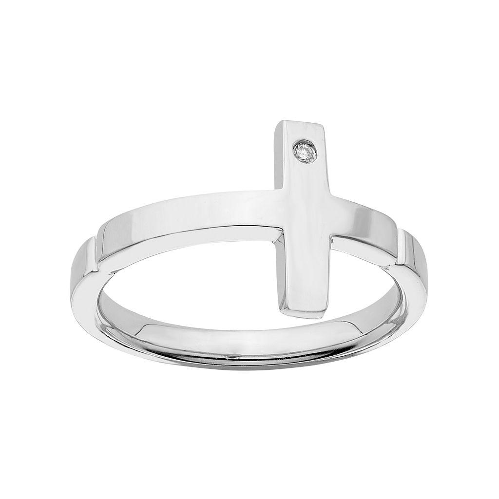 Boston Bay Diamonds Diamond Accent Sideways Cross Ring