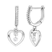 Brilliance in Motion Sterling Silver 1/6 Carat T.W. Diamond Heart Drop Earrings