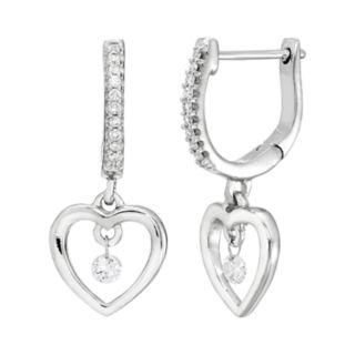 Brilliance in Motion Sterling Silver 1/6 Carat T.W. Diamond Heart Drop Earrings
