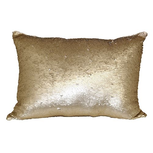 Brentwood Mermaid Sequin Gold Tone Oblong Throw Pillow