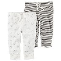 Baby Carter's Ribbed Striped Pants & Bear Pattern Pants Set