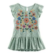 Girls 7-16 Knitworks Embroidered Lace Top