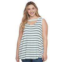 Plus Size French Laundry Striped Cutout Tank