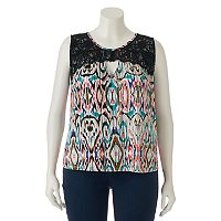 Juniors' Plus Size HeartSoul Lace-Yoke Ikat Tank