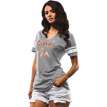 Women's Majestic Miami Marlins Two Seamer Tee