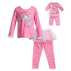 Girls 4-14 Dollie & Me 'Dance With Me' Ballerina Cat Top, Tutu & Bottoms Pajama Set