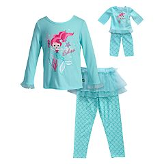 Girls 4-14 Dollie & Me 'Believe' Mermaid Top, Tutu & Bottoms Pajama Set