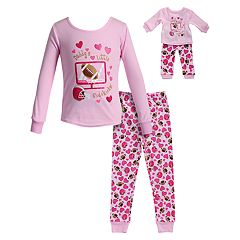 Girls 4-14 Dollie & Me 'Daddy's Little Sidekick' Hearts & Football Top & Bottoms Pajama Set