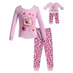 "Girls 4-14 Dollie & Me ""Daddy's Little Sidekick"" Hearts & Football Top & Bottoms Pajama Set"
