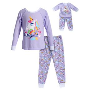 "Girls 4-14 Dollie & Me ""Be Magical"" Unicorn Top & Bottoms Pajama Set"