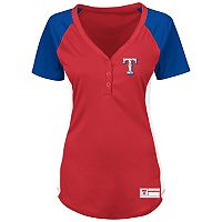 Women's Majestic Texas Rangers League Diva Raglan Tee