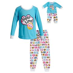 Girls 4-14 Dollie & Me 'Sleep Time' Smiley Face Top & Bottoms Pajama Set