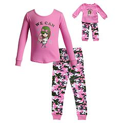 Girls 4-14 Dollie & Me 'We Can' Girl Camouflaged Top & Bottoms Pajama Set