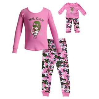 "Girls 4-14 Dollie & Me ""We Can"" Girl Camouflaged Top & Bottoms Pajama Set"