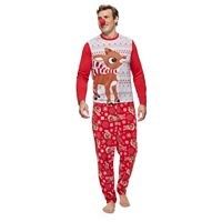 Men's Jammies For Your Families Rudolph The Red Nosed Reindeer Top & Microfleece Bottoms Pajama Set