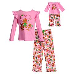Girls 4-14 Dollie & Me Gingerbread Cookie Ruffled Top & Bottoms Pajama Set