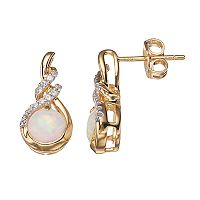 14k Gold Over Silver Lab-Created Opal Stud Earrings