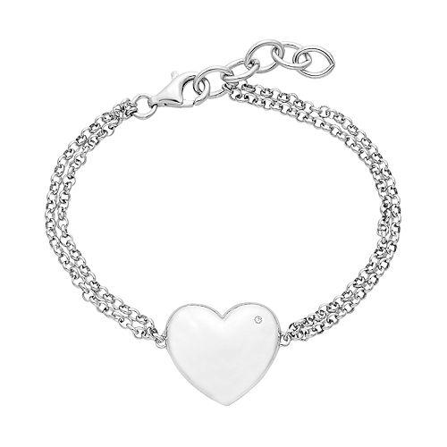 Boston Bay Diamonds Sterling Silver Diamond Accent Heart Bracelet