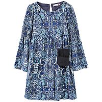 Girls 7-16 & Plus Size Speechless Patterned Bell Sleeve Dress with Fringe Crossbody Purse